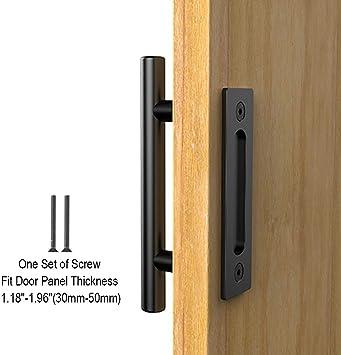 CCJH Tirador y tirador de puerta engastado en negro para puertas correderas de madera para portones: Amazon.es: Bricolaje y herramientas