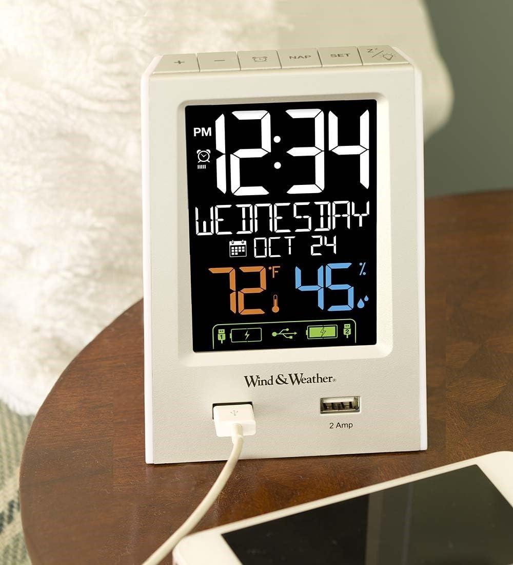 Wind Weather Digital Alarm Clock with Dual USB Ports