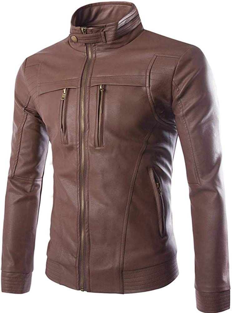 Casual Jacket Long Sleeve Solid Stand Zipper Leather Warm Top Suits /& Sport Coat NRUTUP Big /& Tall Work Wear Jackets
