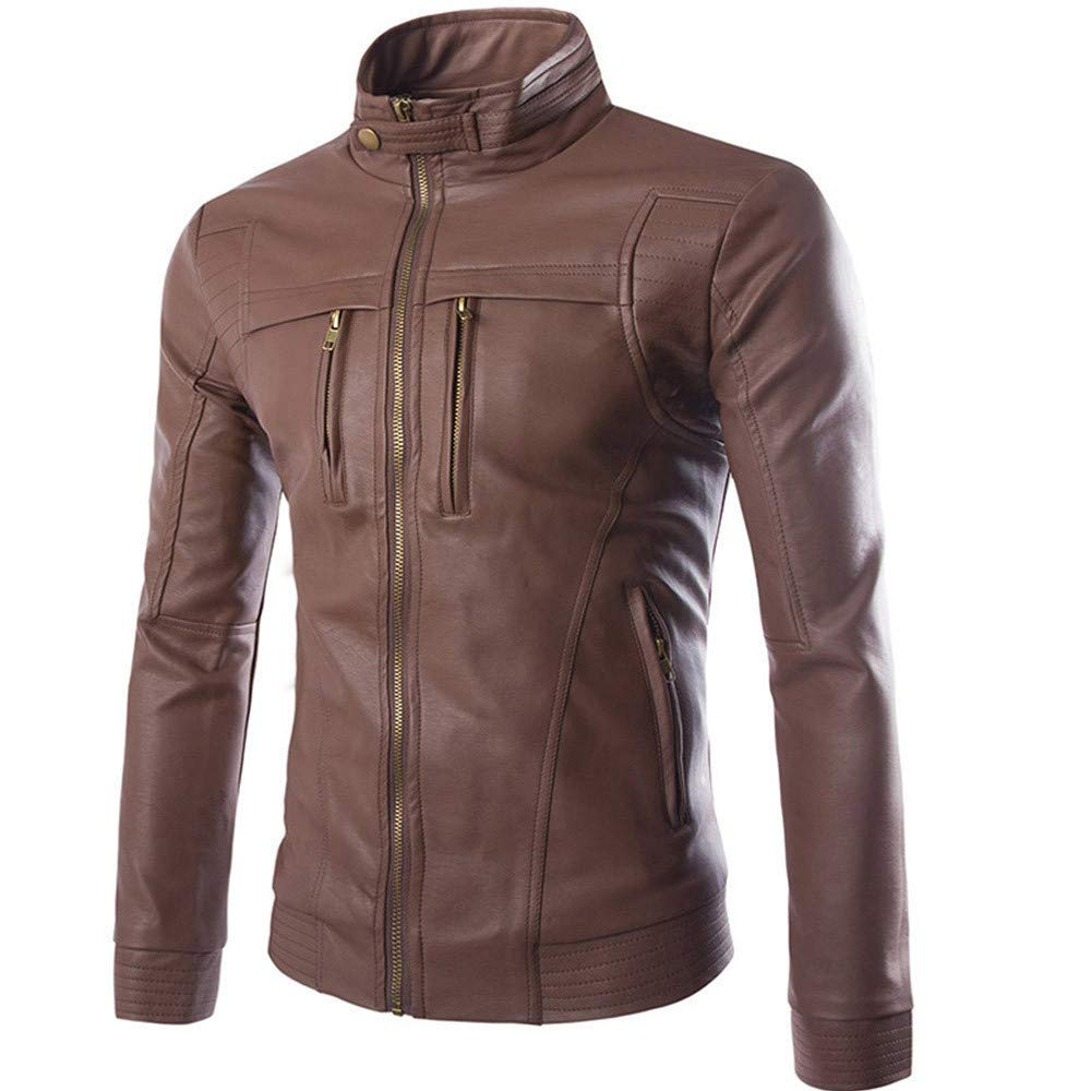 GREFER Men's Casual Motorcycle Faux Leather Jacket Plus Size Brown