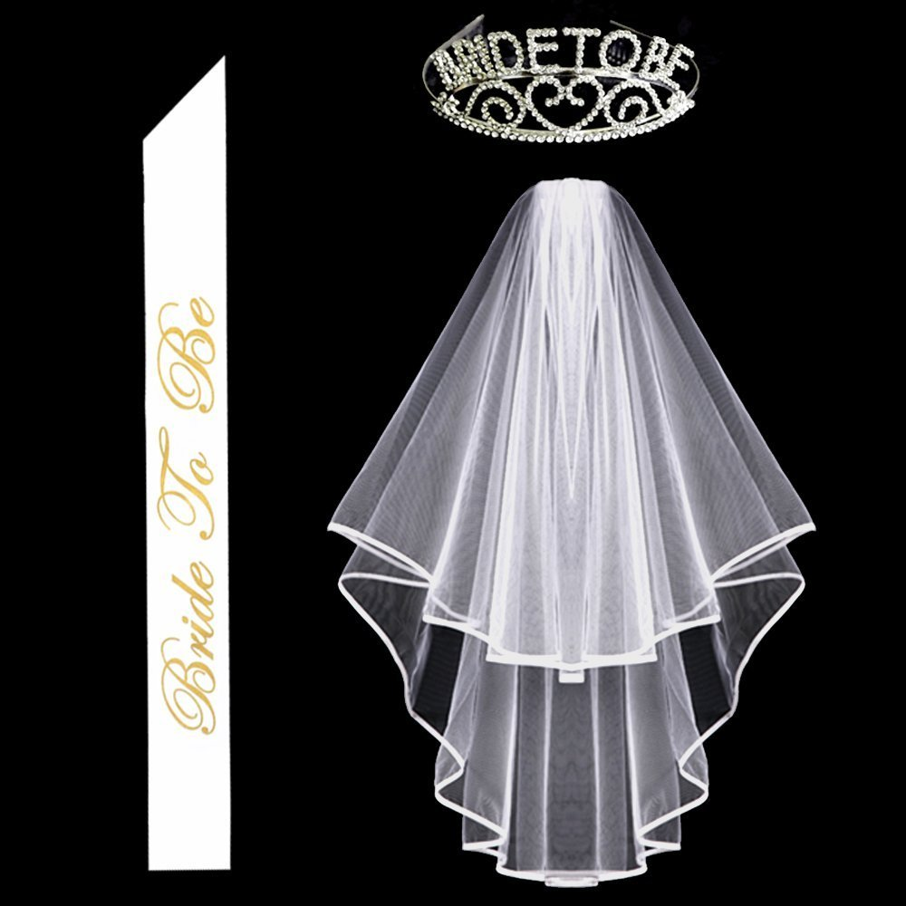 Bridal veils, Bachelorette Party Glitter Rhinestone Bride to Be Tiara & White Double Ribbon Edge Center Cascade Bridal Wedding Veil with Comb & Bride to Be Satin Sash Kixnor