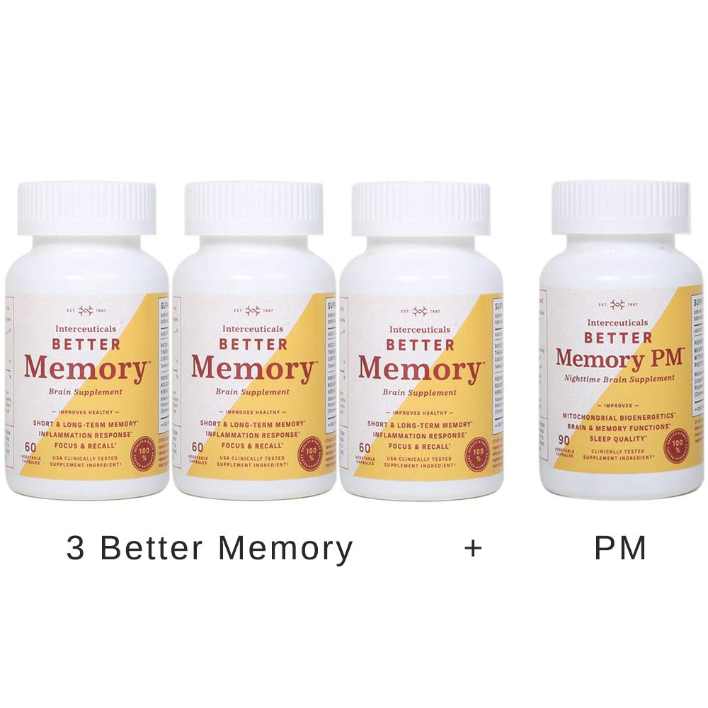 Interceuticals Better Memory Combo Kit - 3 Better Memory and 1 Better Memory PM - High Absorption Turmeric Extract* (4 Bottles Total)
