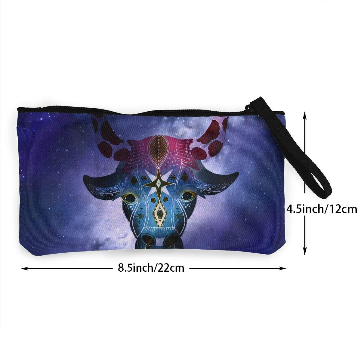 Taurus Astrology Canvas Coin Purses Change Cash Bag Zipper Pouch Wallet Bags