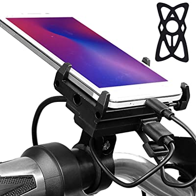 """Metal Cell Phone Mount for Motorcycle with USB Charger, 5V 2.5A Aluminum Motorcycle Handlebar Phone Holder Charger for iPhone X XS/XR MAX 8 Plus, Galaxy S10 S9 S8 S7 S6 Plus and All 3.5 to 6.5"""""""