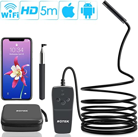 Hanbaili Endoscope sans fil cam/éra dinspection de Borescope de WiFi 2 m/égapixels HD cam/éra de serpent pour Android et IOS Smartphone