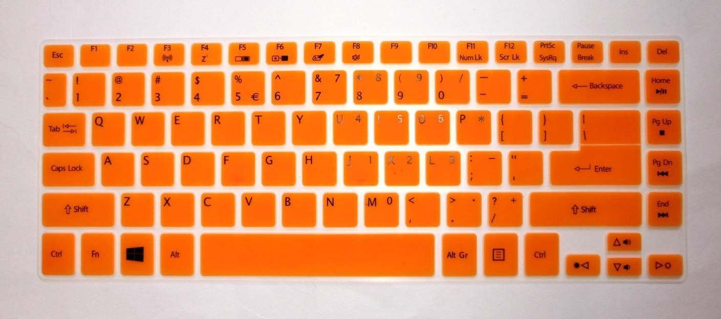 "BingoBuy Semi-Orange Ultra Thin Soft Silicone Keyboard Protector Skin Cover for Acer Aspire V7-482P, V7-482PG, V5-473P, V5-472P, V5-472G, R3-471T (if your ""enter"" key looks like ""7"", our skin can't fit) with BingoBuy Card Case for Credit, Bank, ID Card"