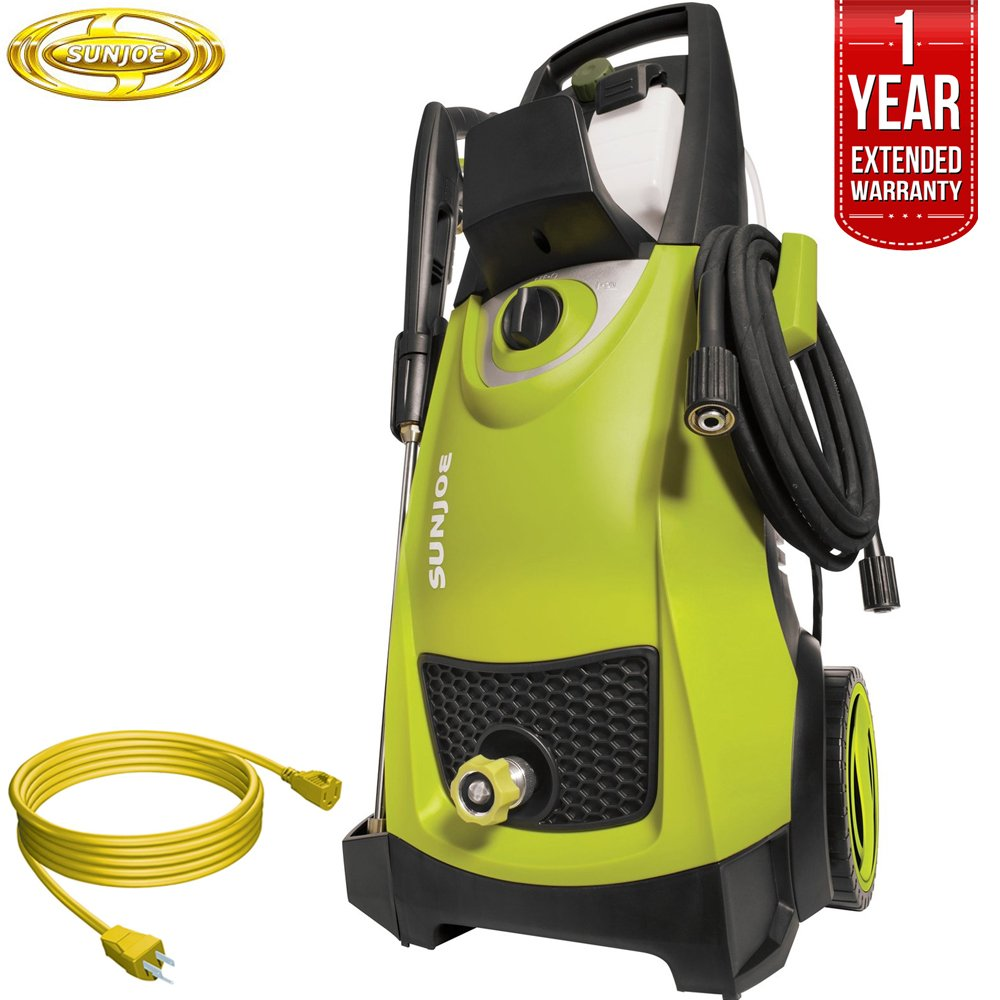 Sun Joe SPX3000 Pressure Joe 2030 PSI Electric Pressure Washer All You Need Bundle with 25 Foot Outdoor Extension Cord and One year Warranty Extension Green