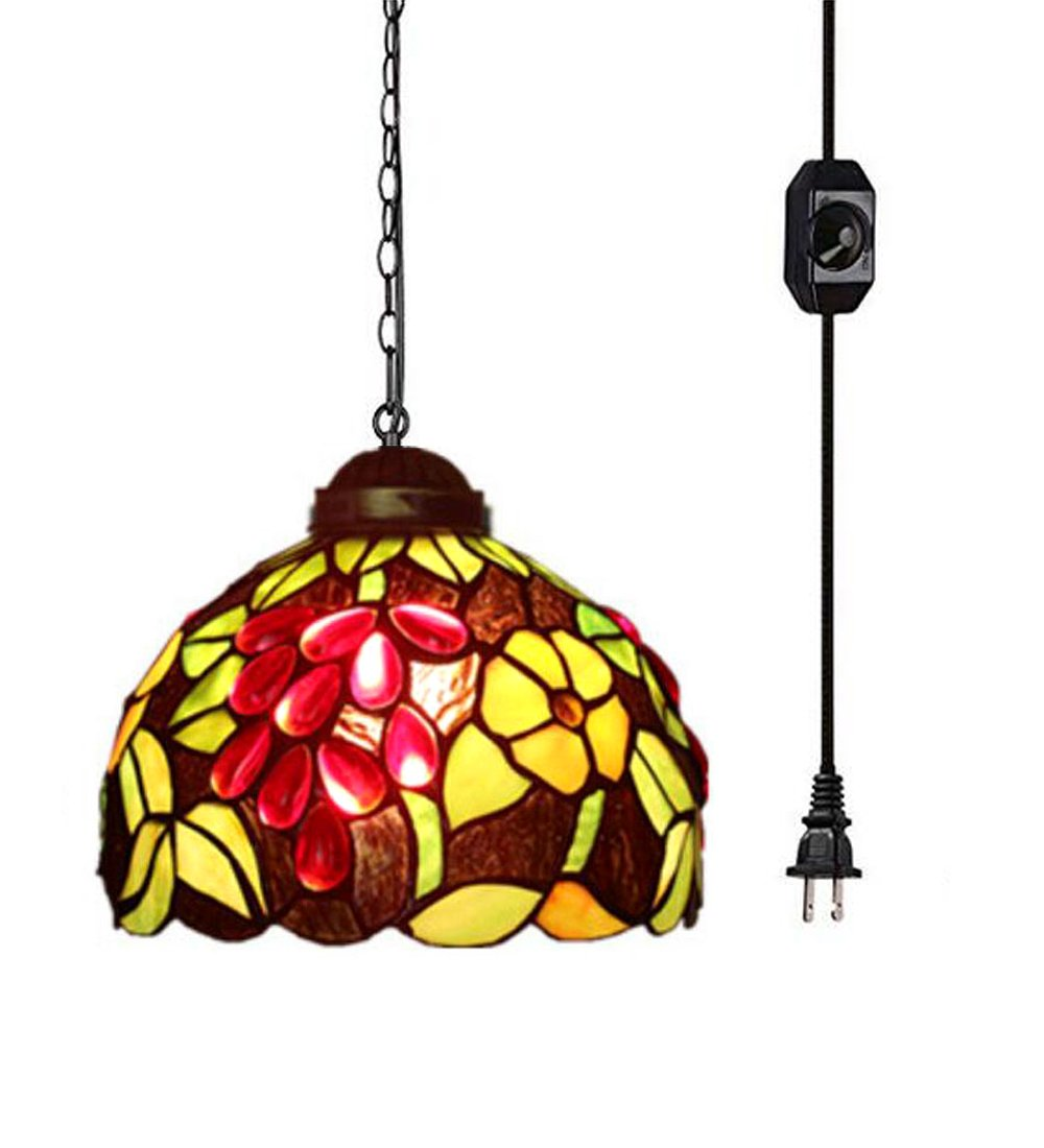 Kiven Tiffany Pendant with 15 Ft Plug in Cord, Metal Hanging Chain and On/Off Dimmer Switch, Perfect Vintage Swag Pendant Lights for Home Decor