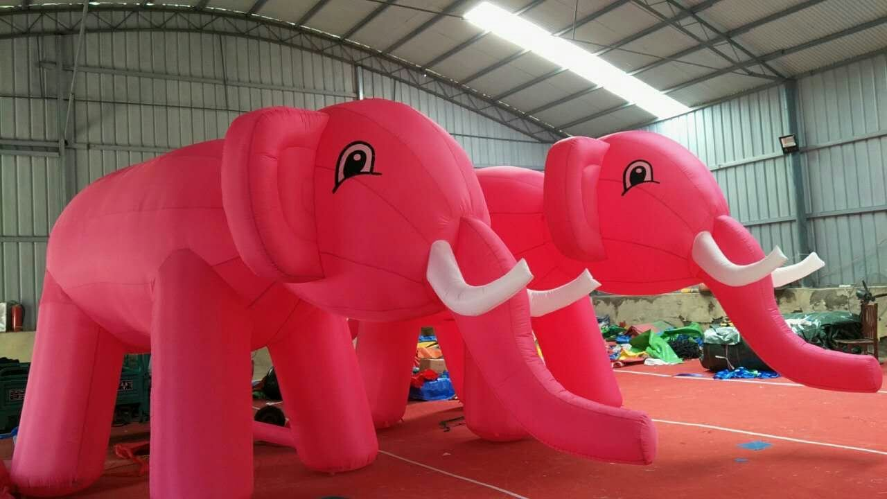 Custom Simulated Models Giant Inflatable Pink Elephant with Blower (6m long)