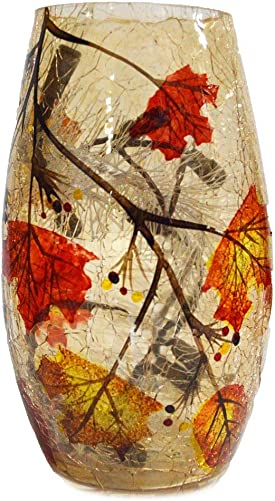 Stony Creek Glass 7 Lighted Vase – Fall Foliage