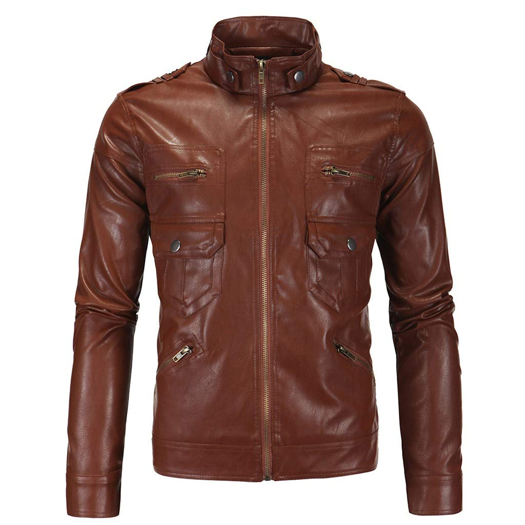pangxiannv Men's Stand Collar Leather Jacket Motorcycle Lightweight Faux Leather Outwear Brown