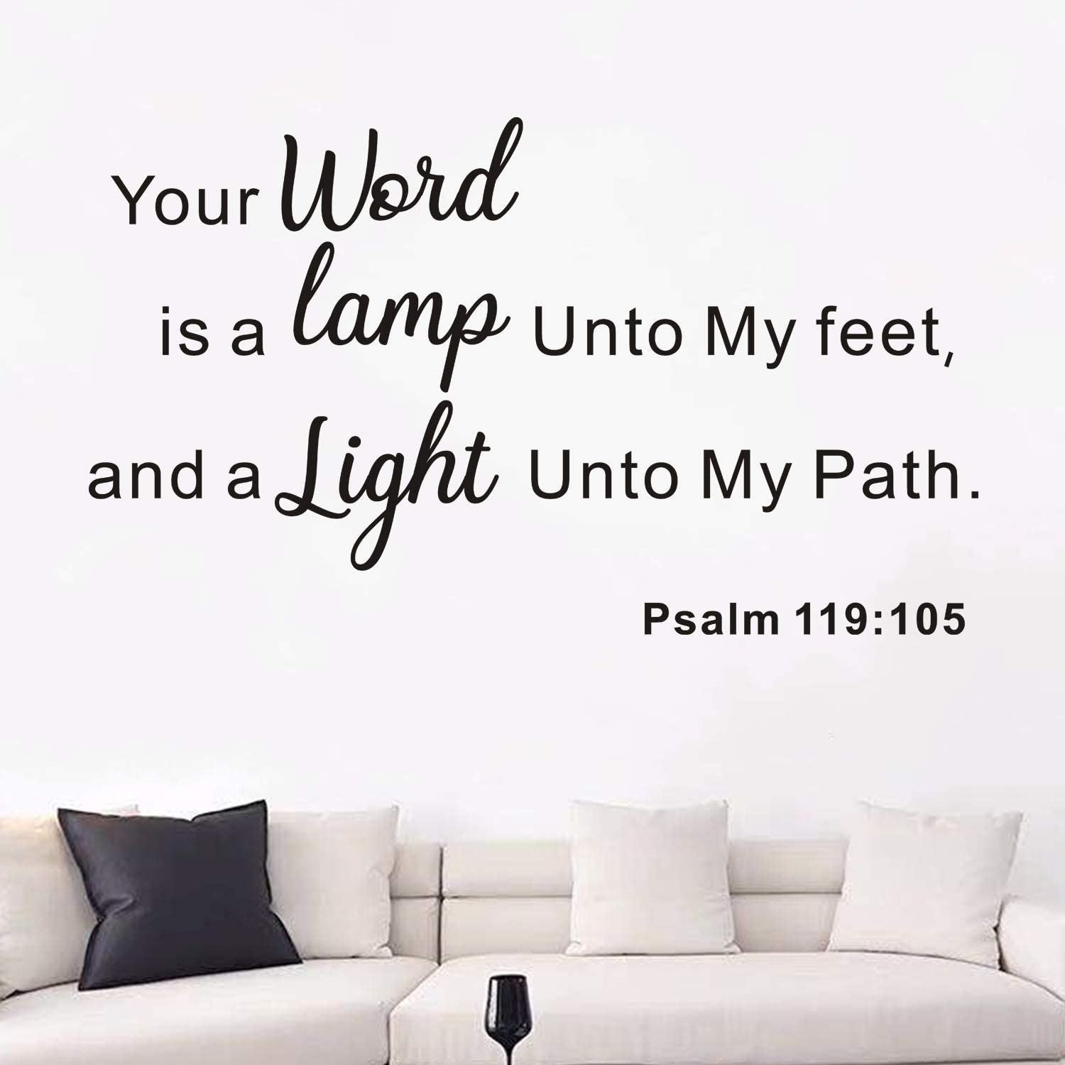 AnFigure Bible Verse Wall Decal, Quotes Wall Decal, Scripture Faith Biblical Religious Home Art Decor Vinyl Stickers Your Word is a Lamp To My Feet and a Light To My Path Psalm 119:105 Black 27.4