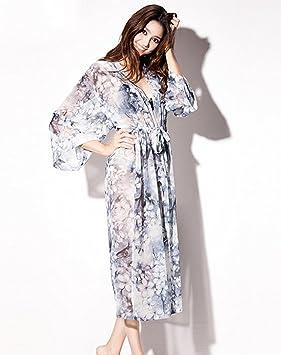 Pijama de verano atractiva larga sección kimono albornoz japonesa de tul vestido de encaje