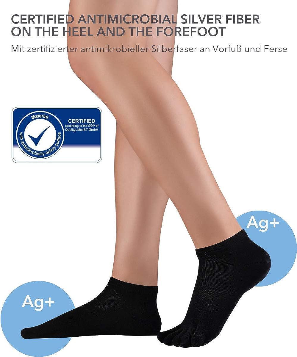 Knitido Dr Foot/® Silver Protect Calzini con dita in cotone fantasmini con fibra dargento per diabete e prevenzione di infezioni