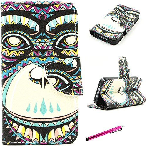 iPhone 4S Case, JCmax Premium Flip PU Leather Wallet Credit Card Case Cover [Kickstand] and Magnetic Closure for Apple iPhone 4S + Screen Protector Flim and Stylus -[Animal Orangutan Pattern]