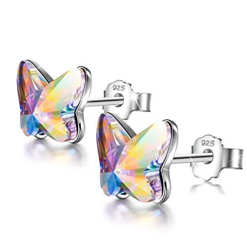 ANGEL NINA Free Love 925 Sterling Silver Butterfly Earrings Hypoallergenic Earrings Made with Swarovski Crystals, Valentines Birthday Gifts Elegant Jewelry Gift Box