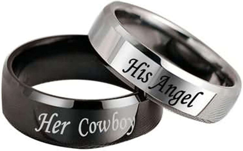 Epinki 6MM Anillo de Pareja, Acero Inoxidable His Angel y Her Cowboy Boda Aniversario Anillo Talla 9,5-27(Precio de una Pieza)