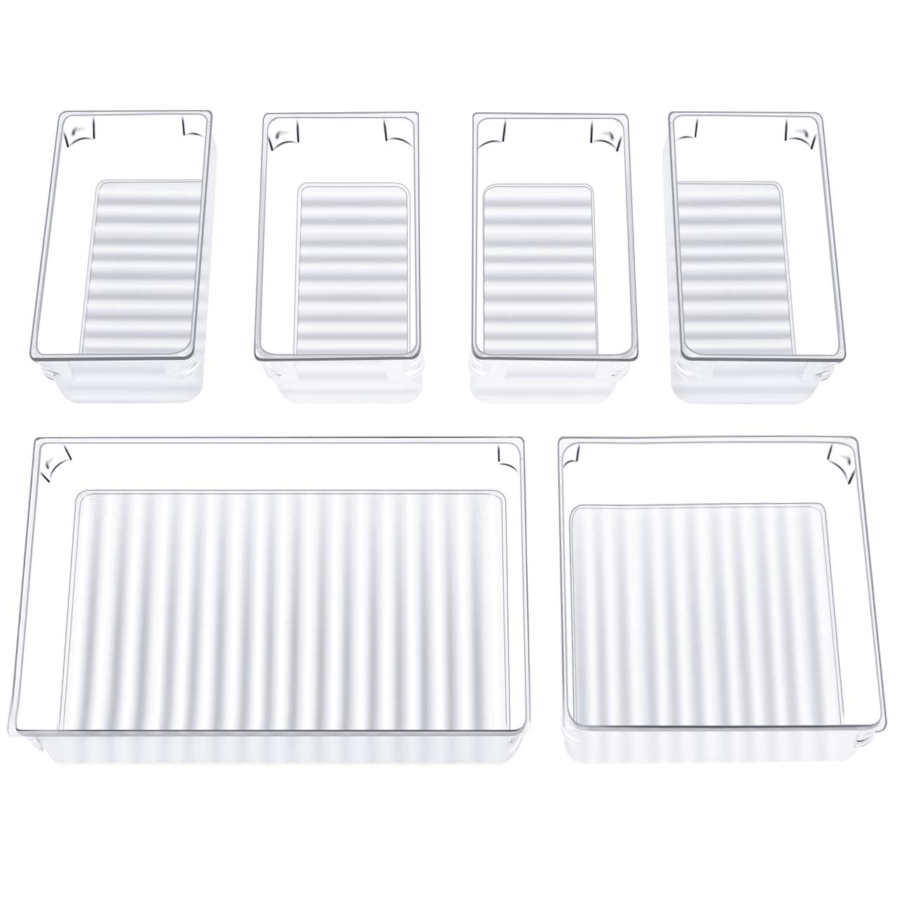 InnoGear Set of 6 Desk Drawer Organiser Trays with 3-Size Clear Plastic Storage Boxes Divider Make-up Organiser for Kitchen Bedroom Office (Clear)