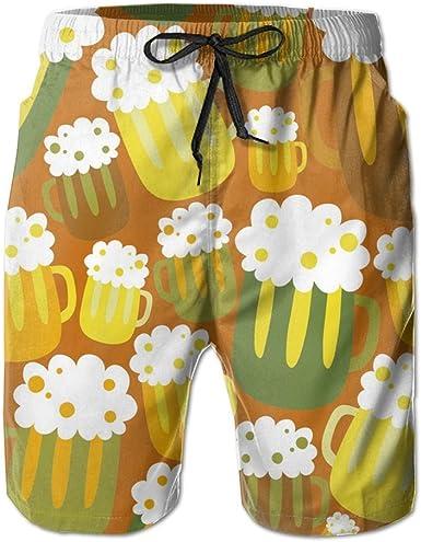 Mens Beach Pattern Breathable Beach Board Shorts Swim Trunks Quick Dry
