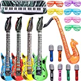 Inflatable Rock Star Toy Set - 18 Pack Inflatable Party Props - 4 Inflatable Guitar, 6 Microphones, 6 Shutter Shading Glasses, 1 Saxophone and 1 Inflatable Keyboard Piano Inflatable Party toys