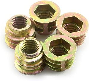 LQ Industrial 25pcs 5/16-18x3/8 Inch Furniture Screw-in Nut Zinc Alloy Bolt Fastener Connector Hex Socket Drive Threaded Insert Nuts for Wood Furniture 10mm