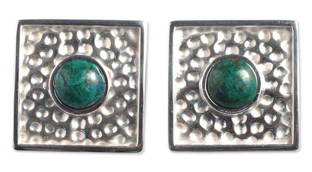 NOVICA Chrysocolla .925 Sterling Silver Button Clip-On Earrings 'Center of the Forest'