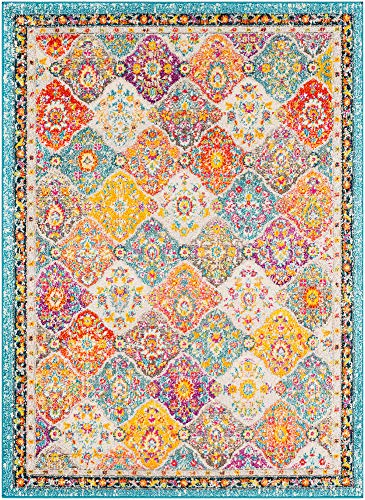 - 5 x 7 Bohemian Area Rug Overdyed Vintage Distressed Persian Panel Multi Teal