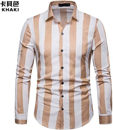 CHENS Camisa/Casual/Unisex/XXL Camisa de Hombre Camisa clásica de Negocios con Rayas de Manga Larga Camisa con Cuello Alto Camisas de Vestir Camisas Hombre Tops: Amazon.es: Deportes y aire libre