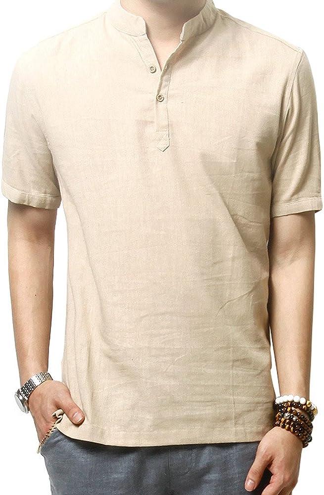 Hoerev Camisas de Lino Slim Fit Camisas Playa Hombres Manga Corta Casual: Amazon.es: Ropa y accesorios