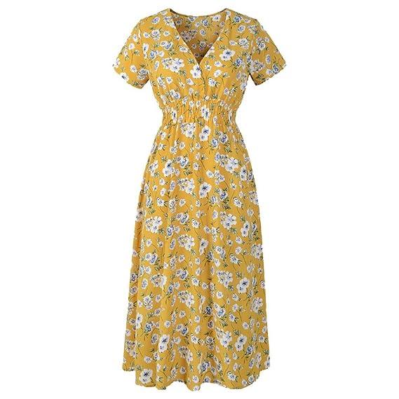 QinMM Vestido de playa floral para mujer, vestido de fiesta de manga corta noche (