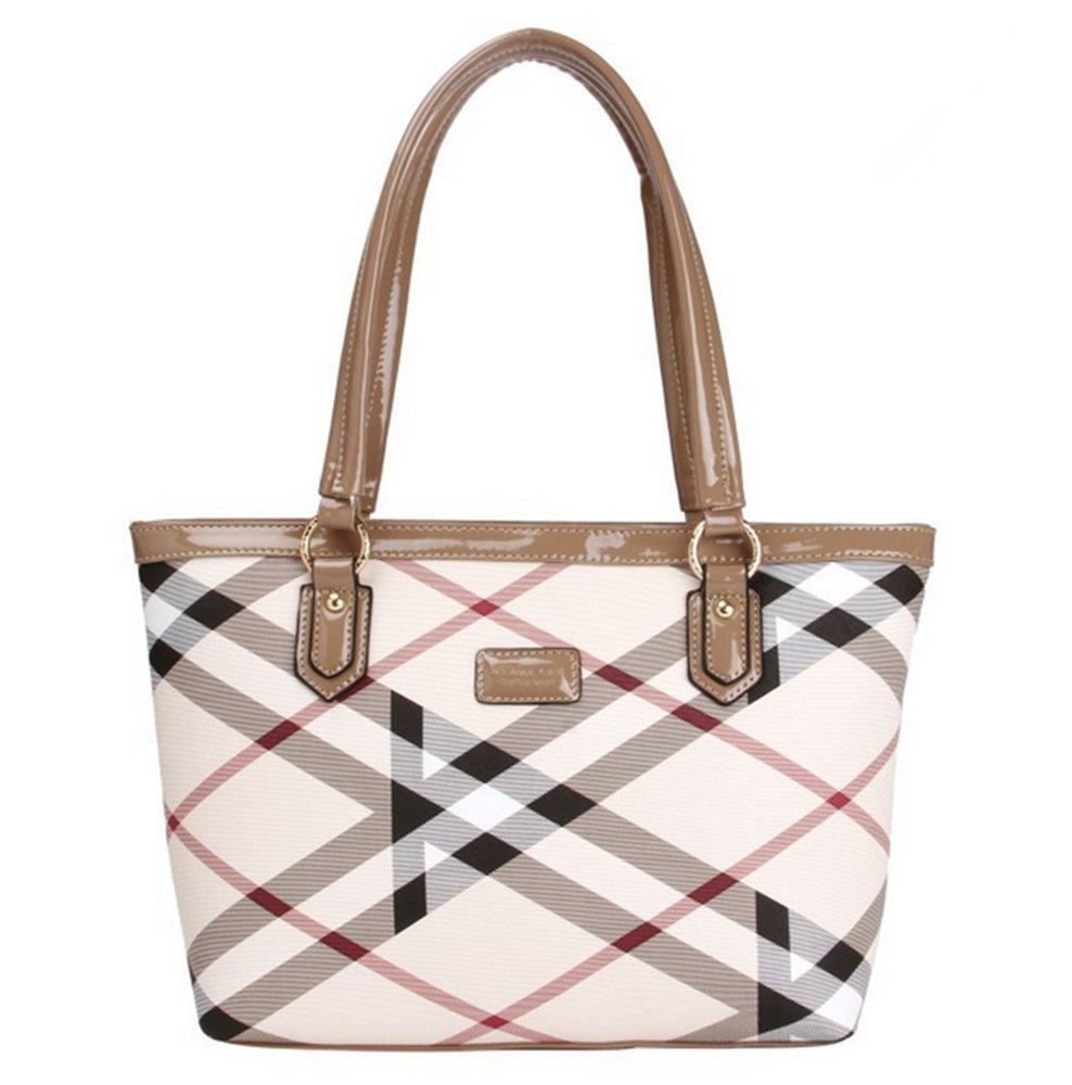 Lady Womens Designer Stylish Grid Top-Handle Handbag Leather Check Shopping Tote Shoulder Bag Yellow