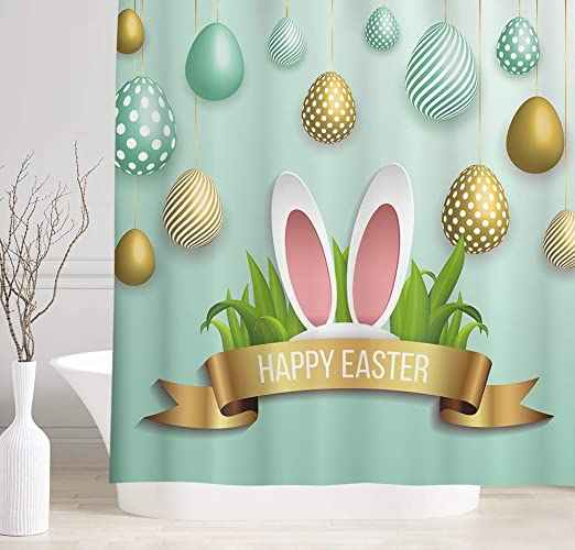 Happy Easter Polyester Fabric Shower Curtain Set Bathroom Decor Colorful Eggs