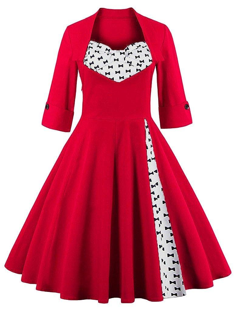Bow Eudolah Women's Vintage Half Sleeves Sexy Retro Party Swing Dress