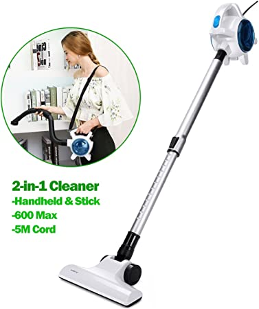 Aobosi Aspirapolvere verticale senza sacco 600W Max 2 in 1 Scopa elettrica con Filtro HEPA per pavimento, soffitto, scale, auto, animali domestici,