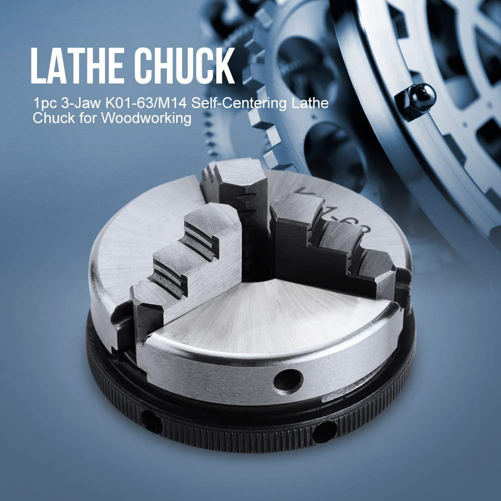 Crushing Chuck Delaman 3 Jaw Chuck K01-63 M14 Manual Self-Centering Lathe Chuck for Woodworking