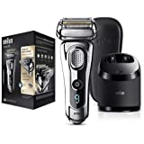 Braun Series 9 Electric Shaver for Men 9297cc, Wet and Dry, Integrated Precision Trimmer, Rechargeable and Cordless Razor with Clean and Charge Station and Leather Travel Case, Chrome
