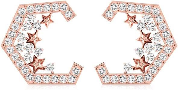 0.62 Carat Hexagon IGI Certified Diamond Stud Earring, 14kt Gold Engraved Star Cluster Wedding Earring, Vintage Women Anniversary Custom Earring Gifts, Screw Back