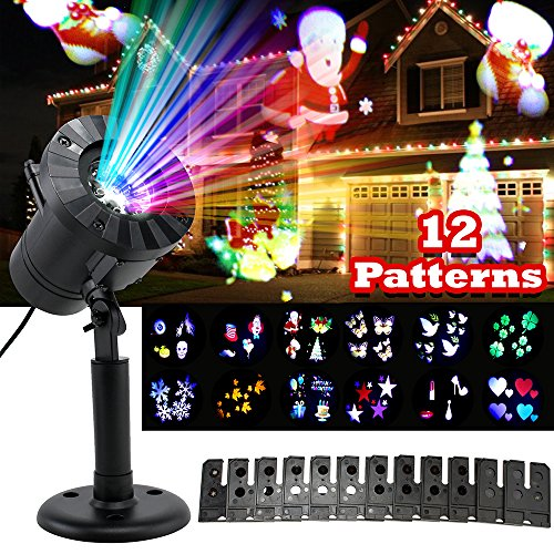 Oct17 Christmas LED lights Projector -2017 Newest Version Xmas Landscape Lamp, Snowflakes Bright LED Indoor Outdoor Lighting for Halloween, Christmas, Holiday, Party, Birthday, Garden Decoration (Christmas Display Stairs On Cards)