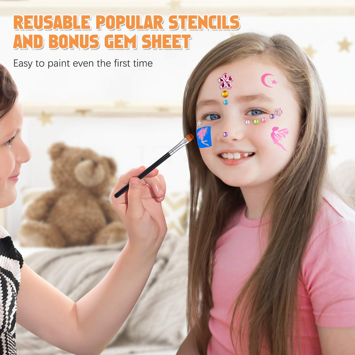 Face Paint Makeup Kit Face Painting Kits Face Paint Set for Kids Adults 15 Colors Water Based Paint, 4 Brushes, 6 Stencils