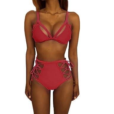 Conjunto de bikini de vendaje de cintura alta para mujer Sujetador push-up acolchado traje