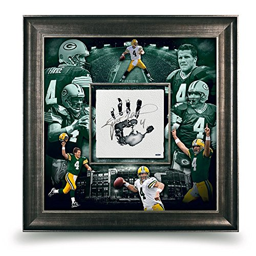 (Brett Favre Signed Autographed 36X36 Tegata Photo Hand Print Framed Packers UDA)