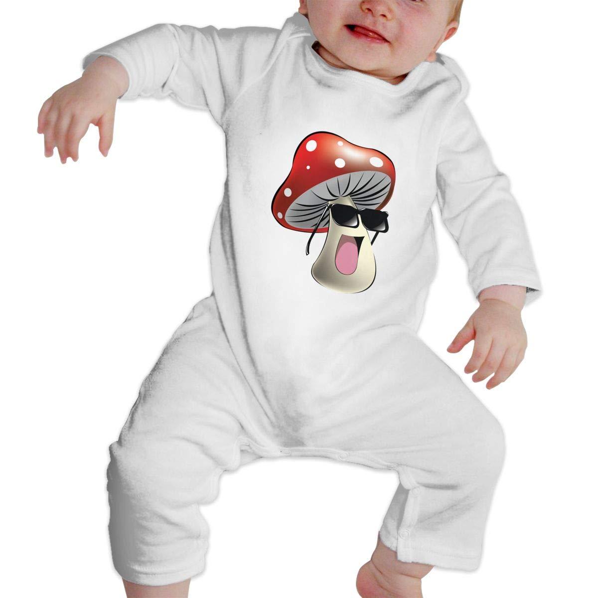 Unisex Baby Cool Mushroom Long Sleeve Romper Bodysuits One Pieces