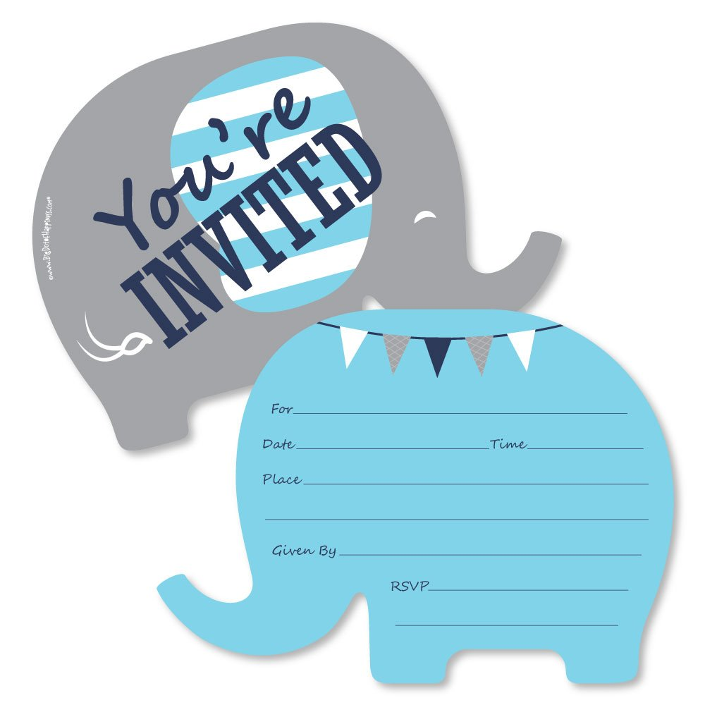 Blue Elephant Shaped Fill in Invitations Boy Baby Shower or Birthday Party Invitation Cards with Envelopes Set of 12