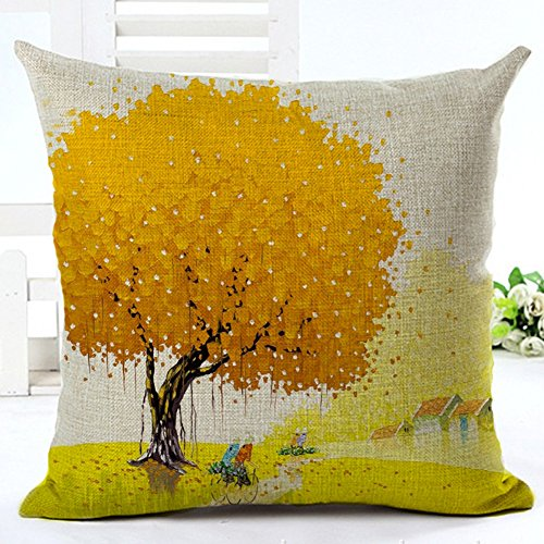 Pillow Cases Pillowcases Standard 18 x 18 Decorative Cotton Linen Colorful Tree Plant Square Throw Pillow Case Decorative Cushion Cover Pillowcase Cushion Case for Sofa,Bed,Chair,Auto Seat (#11)