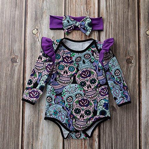 MOKO-PP Newborn Baby Girls Long Sleeve Halloween Cartoon Skull Romper Jumpsuit(purple,66)
