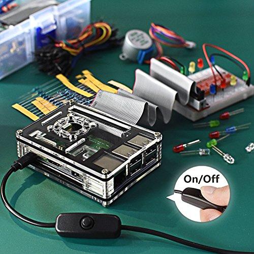 Smraza Raspberry Pi 3 B+ Case with Fan + Heatsinks + 2.5A Power Supply w/On Off Switch for Pi 3B+ Case by Smraza (Image #4)