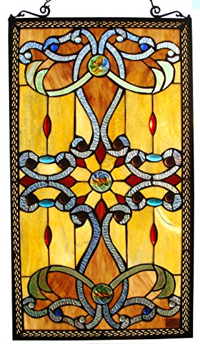 Fine Art Lighting Tiffany Window Panel, 15 by 26-Inch, 276 Glass (Fine Art Stained Glass)