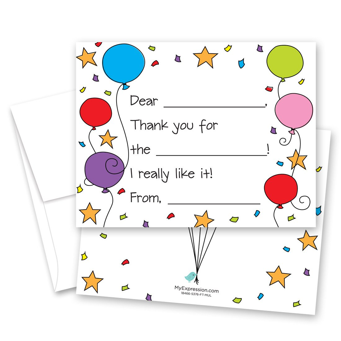 20 Colorful Balloons Fill in Birthday Thank You Cards