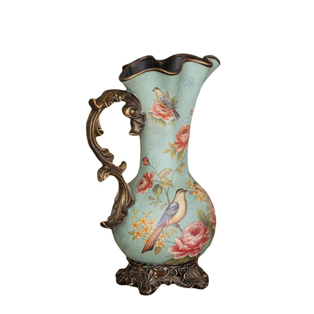 MAHONGQING 花瓶大花瓶国セラミック花と鳥の装飾フロアフラワーホームデコレーションヨーロッパスタイル B07RRWWR47