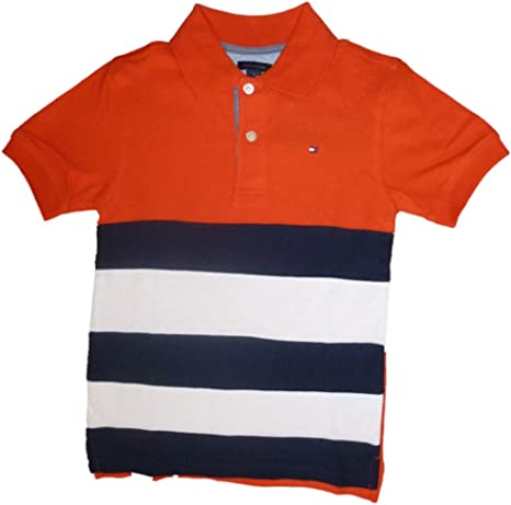 Tommy Hilfiger Niños Polo Camiseta con logo Bandera Naranja Blanco ...